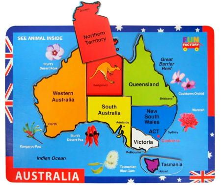 $10.95 Australia Map Chunky Piece Puzzle is a solid seven piece puzzle in striking colours with each piece depicting a state of Australia. This simple puzzle is marked with each states name and capital and is surrounded by wildflowers from each state. When the pieces are removed they reveal an animal which is associated with that area.