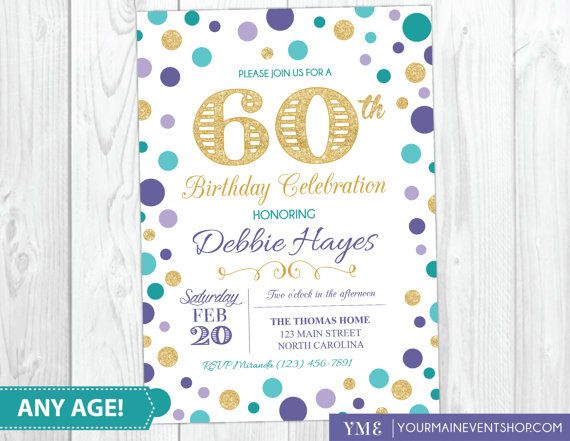 60th  Birthday Invitation  Surprise Birthday Invite  Purple