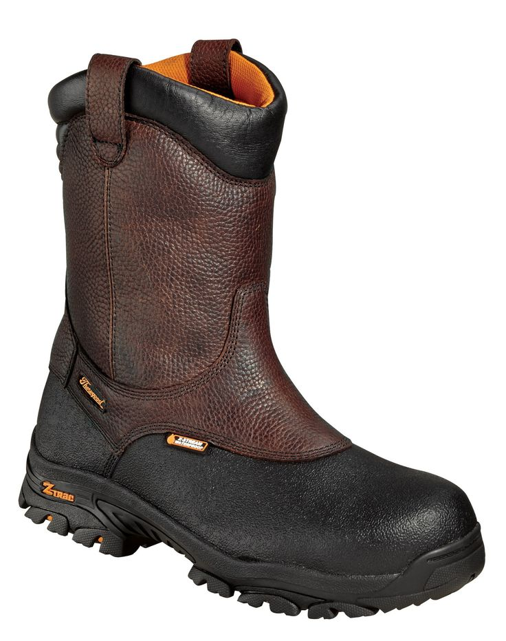 Thorogood Mens Z-Trac Brown Leather Boots Comp Toe 8in Wellington