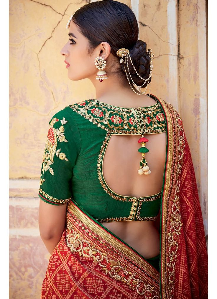 Red and Green Embroidered Bandhani Saree