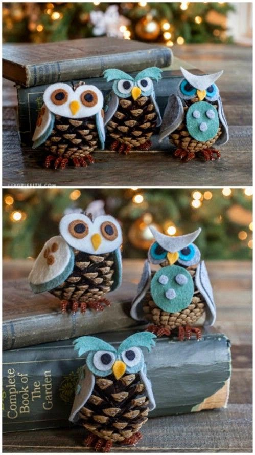 Felt Pinecone Owls