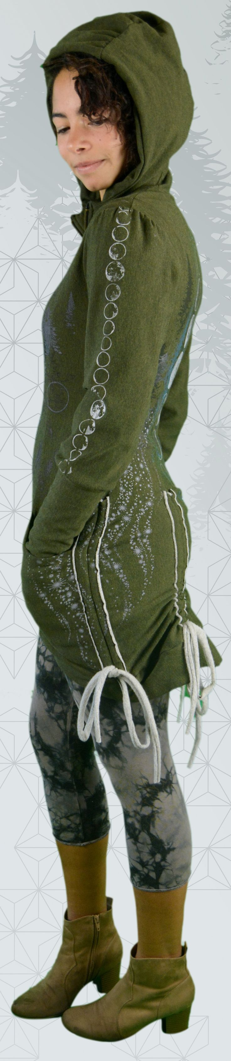 Bamboo Bustle Jacket made in Canada. This organic green women's hoodie is hand printed with moons, moon phases, trees, stars and sacred geometry.