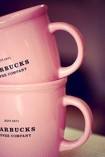 Starbucks cute pink mugs. Perfect for a rainy day by the fireplace