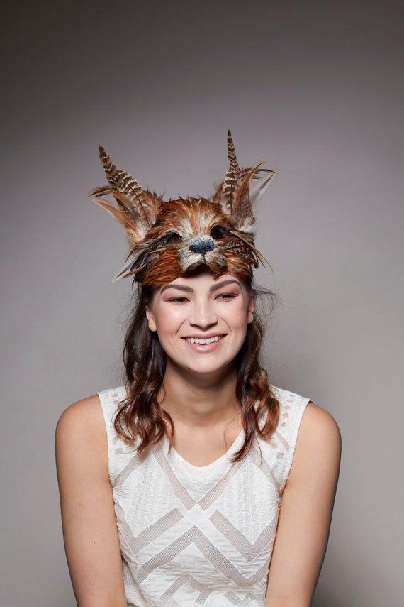 Handmade Red Fox Mask Woodland Fox Mask Festival by CuriousFair