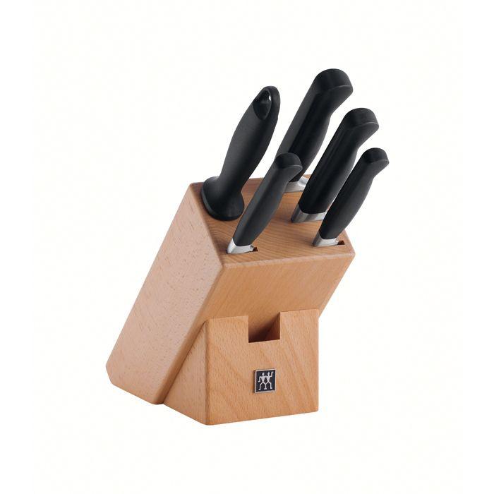 Набор ножей 5 пр, в подставке, Twin Pure Ножи: для чистки овощей, универсальный, для нарезки, поварской, мусат, подставка (дерево).