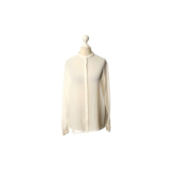 Pre-owned Silk blouse in white (£115) ❤ liked on Polyvore featuring tops, blouses, white, white blouse, white silk blouse, j.crew blouse, white silk top and transparent blouse