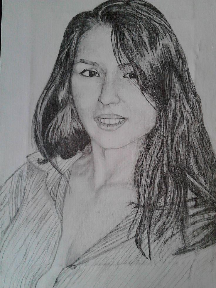 Portret feminin,pe panza,grafica ///  Female portrait on canvas, graphics.