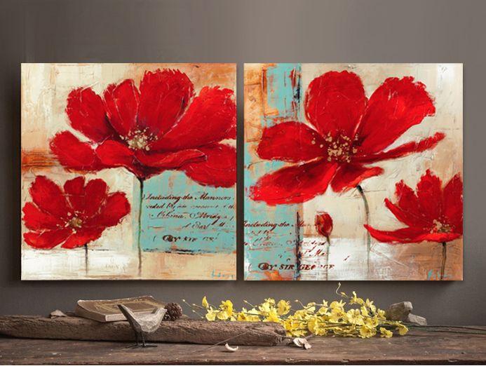 Aliexpress.com: Comprar Fondo azul amapolas rojas flores de pintura al óleo sobre lienzo moderno arte pop de la pared arte decoración para el hogar oficina dormitorio sala de estar gratis de pared de la flor pintura fiable proveedores en WHAT ART