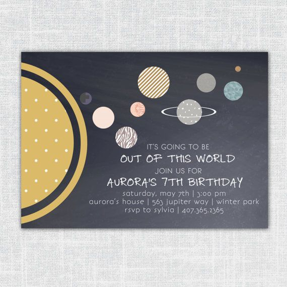 Aurora Little Girls' or Boys' Planetary Solar System Birthday Invitation (Abstract solar system, space themed, printable party invitation)