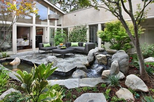 garden - pond, court yard, not that I like the stone work but something along that line could be cool.: Photos, Dreams, Water Features, My Dream House, Dream Houses, Garden, Design, Backyards