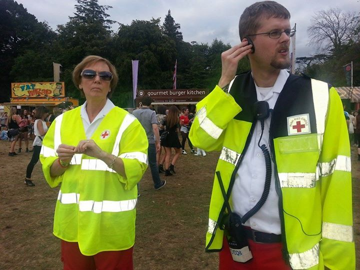 Volunteers giving first aid cover at the Longitude festival 2014 www.redcross.ie