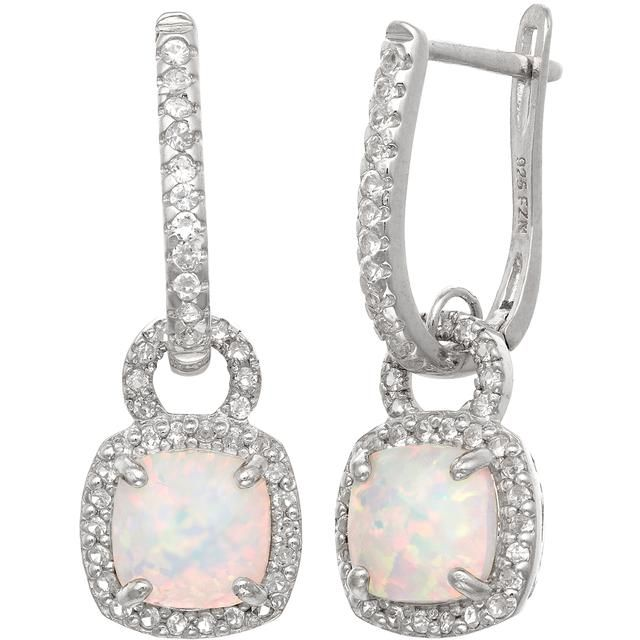 Tiara 3 1/10 CT TW Opal and Sapphire Polished Silver Dangle Earrings