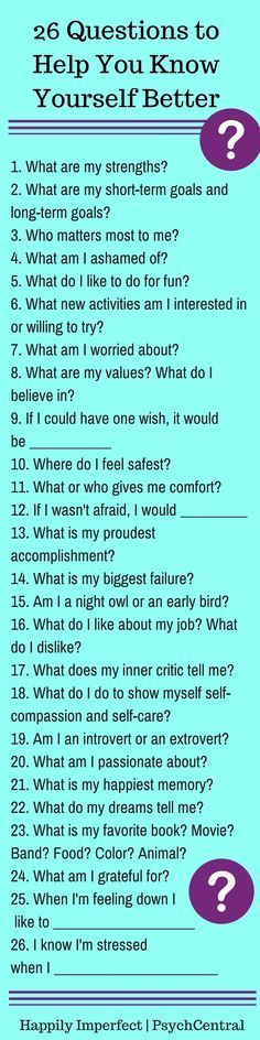 "26 Questions To Help You Know Yourself Better Developmentally, we wrestle with ""finding ourselves"" as teens and young adults. Then we ofte..."