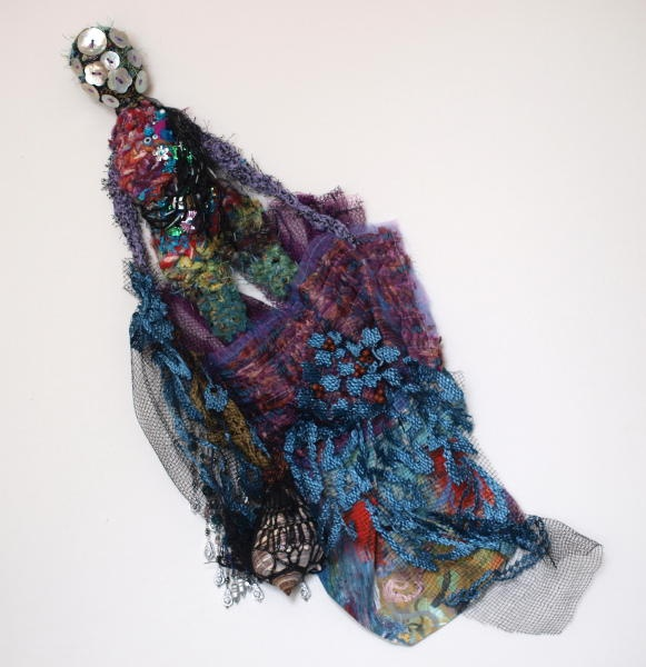 "CHRISTINE SAUER ""Emerge""  21x9x3""  2012  $1100.00  mixed media:  crochet, beaded, painted, stitched"