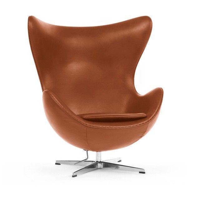Jacobsen lounge stoel. Egg Chair Leder. Design Lounge.