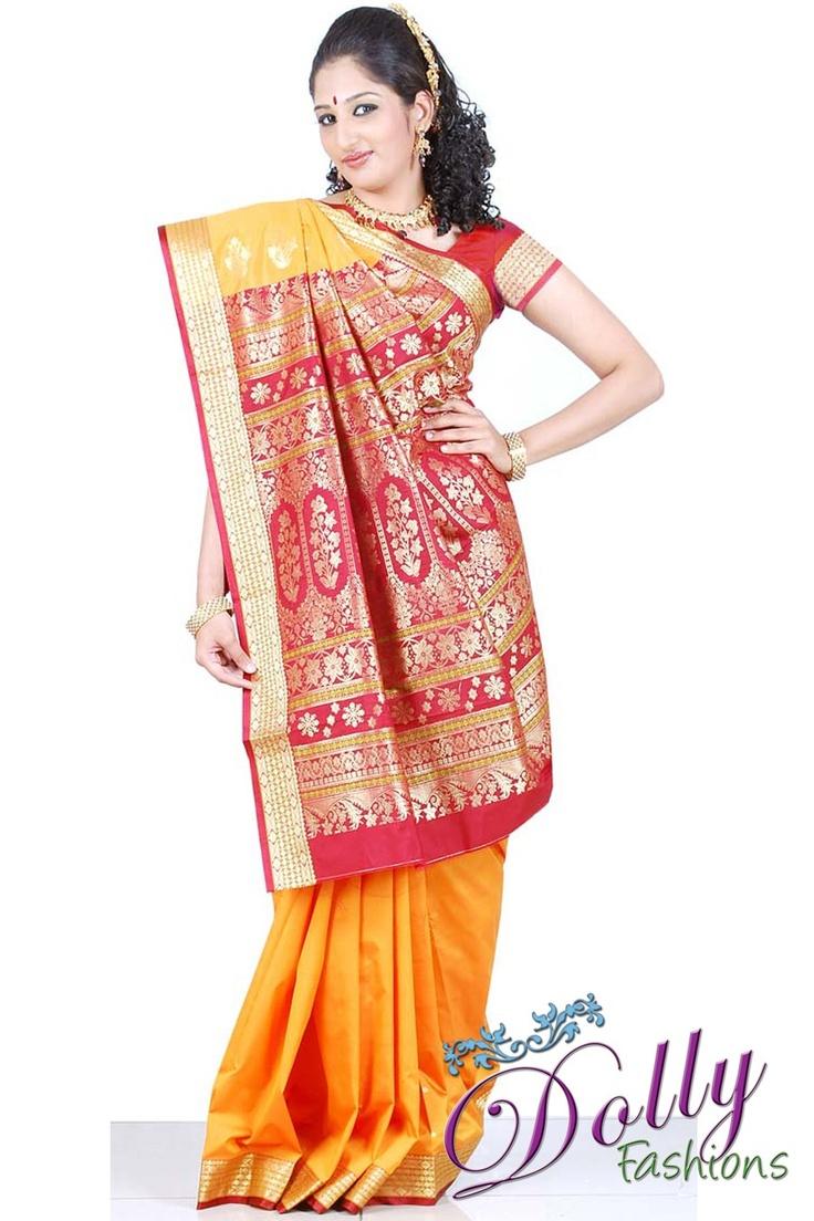 Light Orange Art Silk Saree