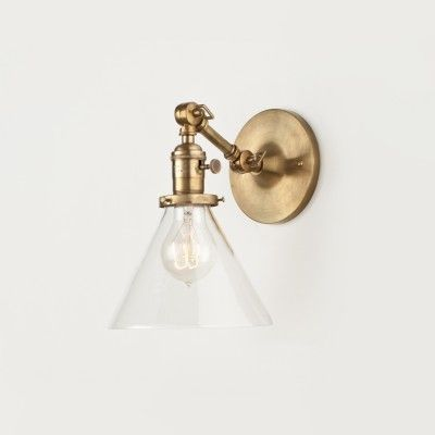 Princeton Sophomore Wall Sconce Light Fixture | Schoolhouse Electric & Supply Co. (brass and clear glass)