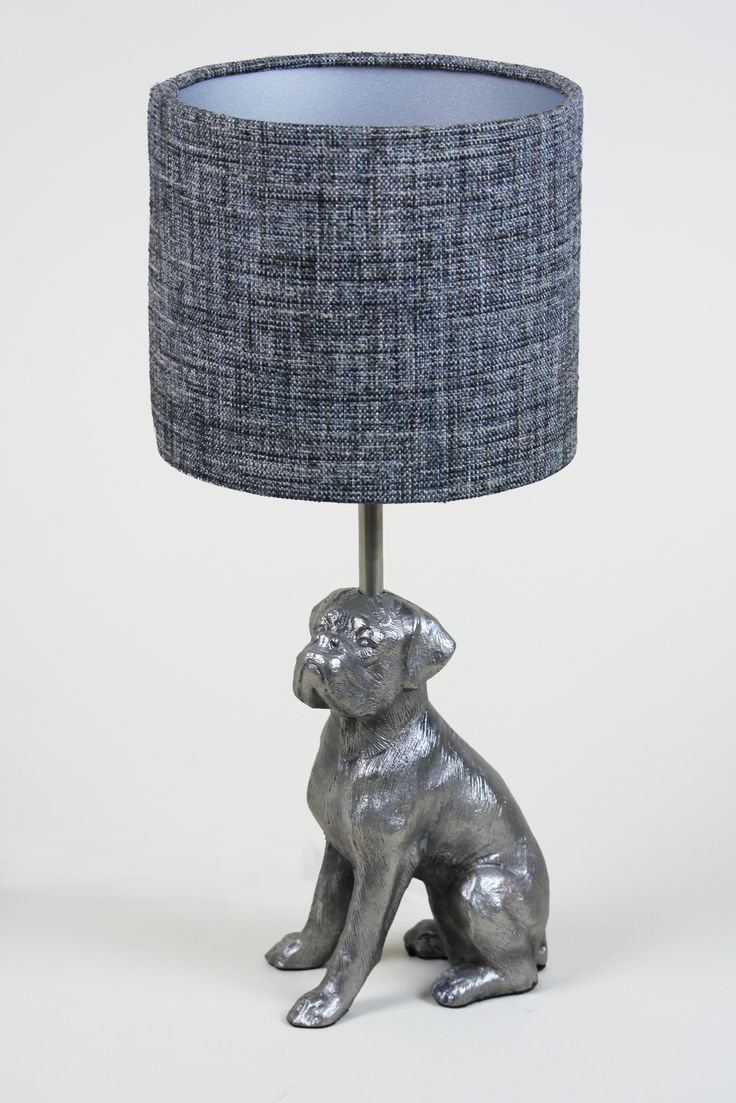 Handmade 20cm Drum - Fine weave 'Charcoal', Matte silver inner. Boxer lamp base availbale from https://www.cotterellandco.com/aluminium-dog-antique-silver-table-lamp-with-shade-options