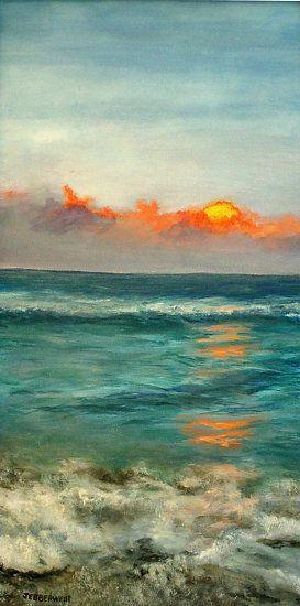 Turquoise Ocean by Joseph Ebberwein Acrylic ~ 24 x 12