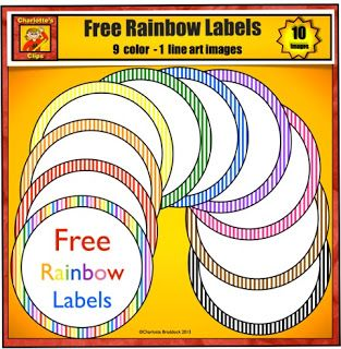 Free Labels for Classroom in Rainbow Colors from Charlotte's Clips - For more pins like this visit: http://pinterest.com/kindkids/charlotte-s-clips/