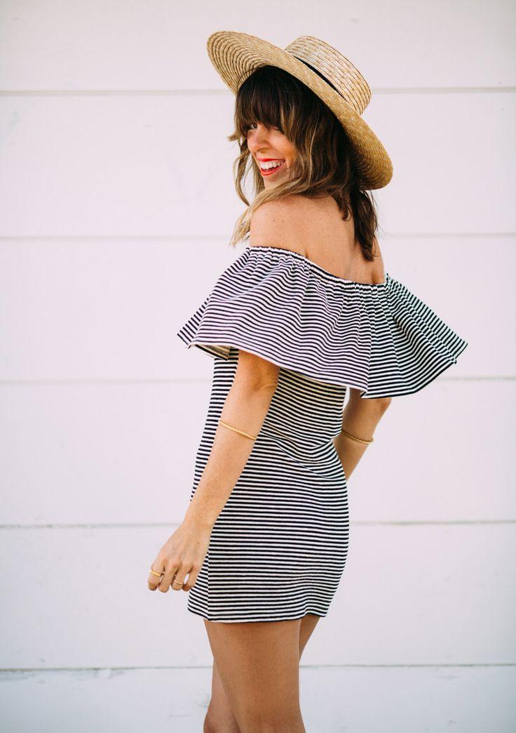 Off the shoulder dress + hat