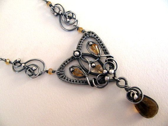Sterling Silver Gemstones Necklace, Wire Wrapped Whiskey Quartz and Citrine, Gold Brown Handmade