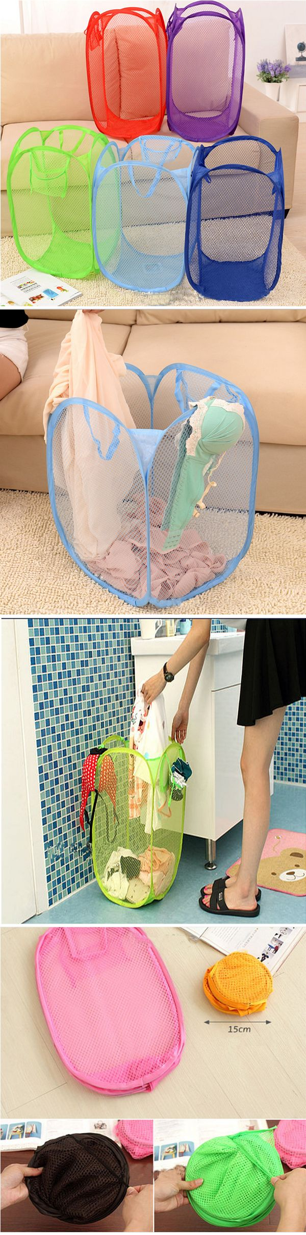 US$3.99 Nylon Foldable Washing Basket Clothes Mesh Laundry Bag Washing Drying Bags