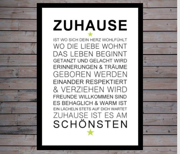 Originaldruck - Kunstdruck ZUHAUSE Home is Geschenk Bild Deko Art - ein Designerstück von Druck-Reif-Kunstdrucke bei DaWanda
