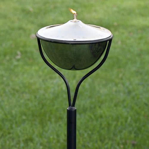 Large Etched Stainless Steel Garden Torch Traditional Yard Stake - Stainless Steel