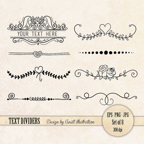 Separadores de texto - arte de clip de texto divisor - separador de página…