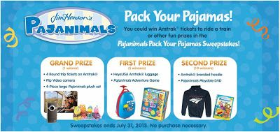 """Pajanimals Pajama Party! DVD 7/26     Grand Prize of four round-trip coach tickets on Amtrak, a Flip video camera and a 4-piece large plush set of Pajanimals from Tomy.  Five First Prize winners will receive HeysUSA Amtrak luggage and a Pajanimals Adventure Game from Briarpatch  10 Second Prize winners will receive an Amtrak branded hoodie and the """"Pajanimals Playdate"""" DVD from NCircle Entertainment."""