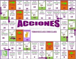 Este juego de la oca está diseñado para hacer conjugaciones verbales. Aunque está diseñado para una clase de español como segundo idioma, sirve muy bien para una clase regular de español.