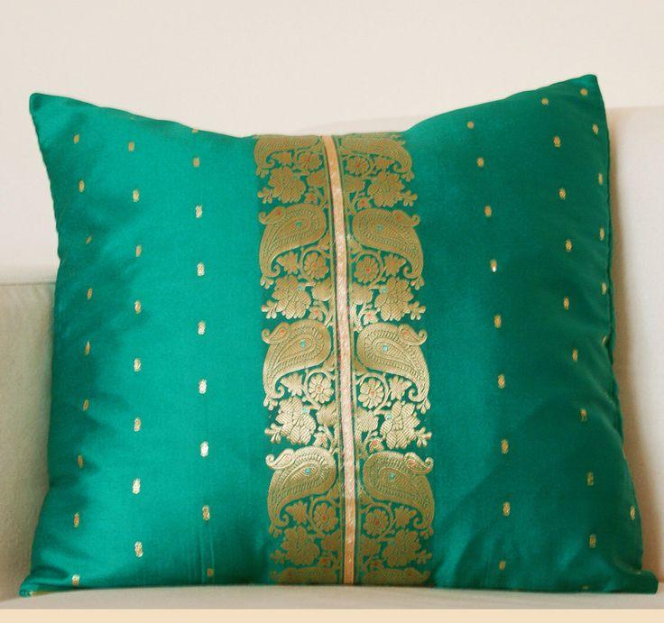 Indian Sari Pillow Cover Jade Green and Gold