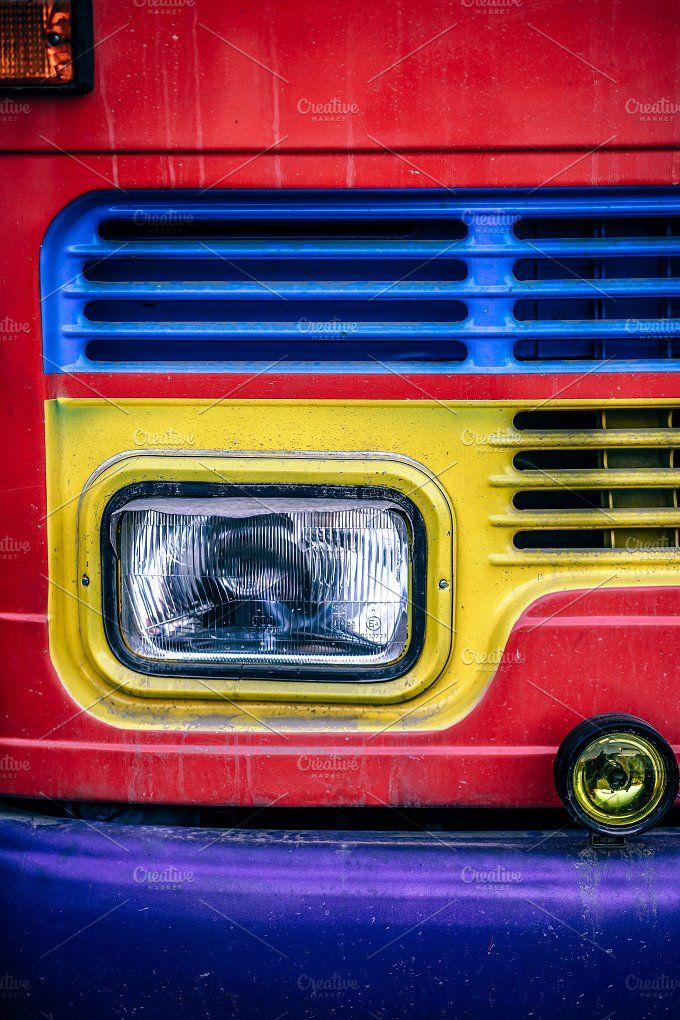 Headlight of a colorful freight truck in Nepal