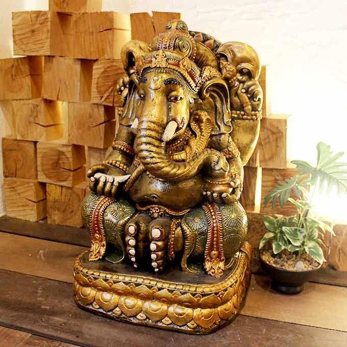 象の神様 ガネーシャ 開運の神様 置物 オブジェ ゴールド H42cm バリ雑貨 ヒンドゥー教 神様 オブジェ