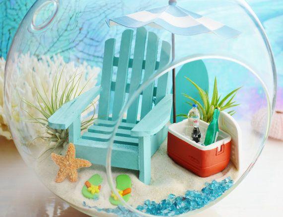 "Beach Terrarium ~ Cooler and Beach Umbrella 4 Colors ~ Adirondack Chair ~ Airplants ~ 8"" Glass Round Globe ~ Beach Decor ~ Great Gift"