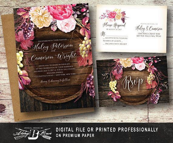 Rustic Wine Wedding Invitation SET  Grapes Flowers Watercolor