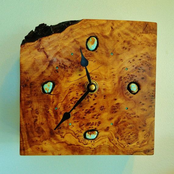 Hand Made Wooden Clocks | California Olive Wood Burl Handmade Clock Turquoise Stones