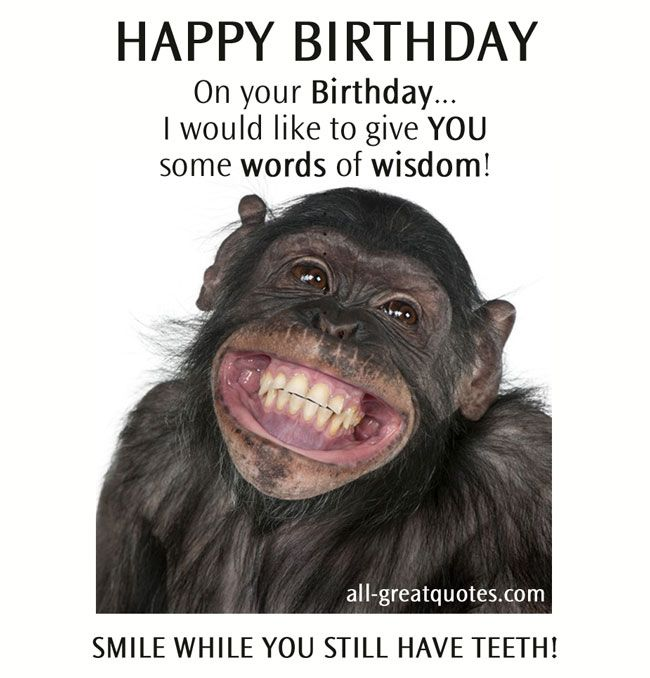 HAPPY BIRTHDAY On your Birthday... I would like to give YOU some words of wisdom! SMILE WHILE YOU STILL HAVE TEETH. #funny #happybirthday #birthday