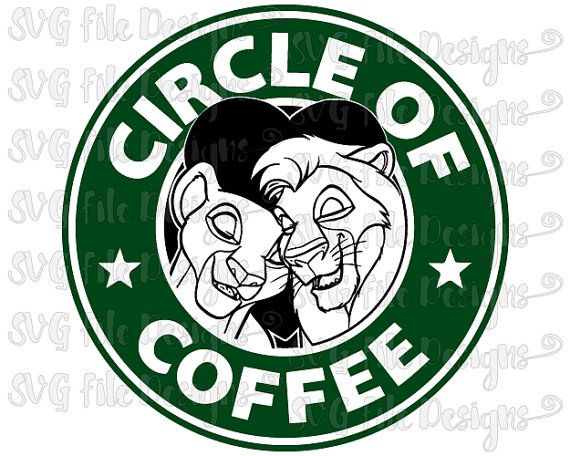 Lion King Simba and Nala Circle of Life Coffee Disney Starbucks Logo Cutting File in Svg, Eps, Dxf, and Jpeg for Cricut & Silhouette