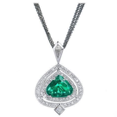 GIA Cert Colombian Emerald Diamond Gold Pendant | From a unique collection of vintage drop necklaces at https://www.1stdibs.com/jewelry/necklaces/drop-necklaces/ #VintageGoldJewellery