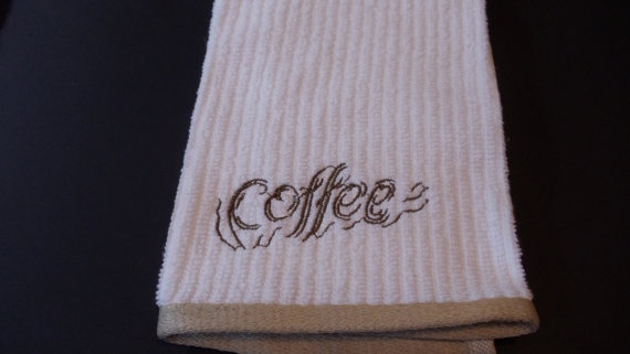 Great to put with a favorite coffee for those coffee lovers on your gift list.  I have one of these for me and the quality is great!!  Kitchen Dish Towel  Embroidery Coffee by kalliescotton on Etsy, $5.95