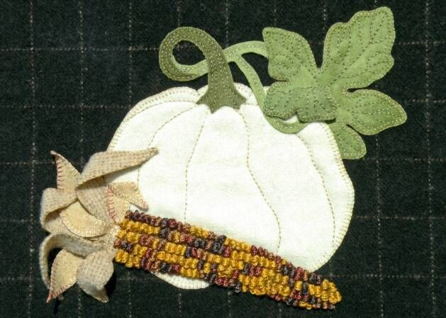 Pumpkin And Indian Corn Wool Stitching Food