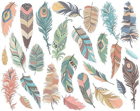 Plumas tribales Clip Art - juego de 26 PNG de 300 DPI, JPG y archivos vectoriales - lindo, dibujado a mano Clipart Digital descarga