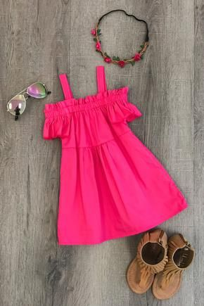 Hot Pink Off-Shoulder Dress - Sparkle in Pink