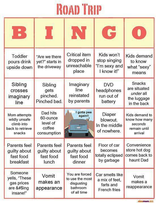 Road Trip Bingo for adults. Way too true!