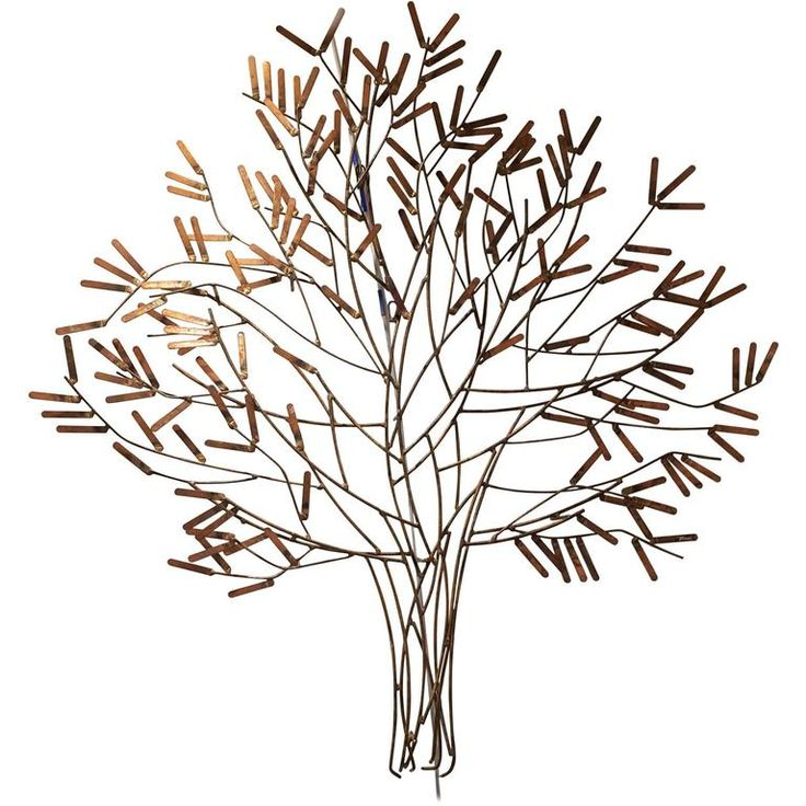 gilt metal wall sculpture of a stick tree by william bowie - Metal Wall Sculpture