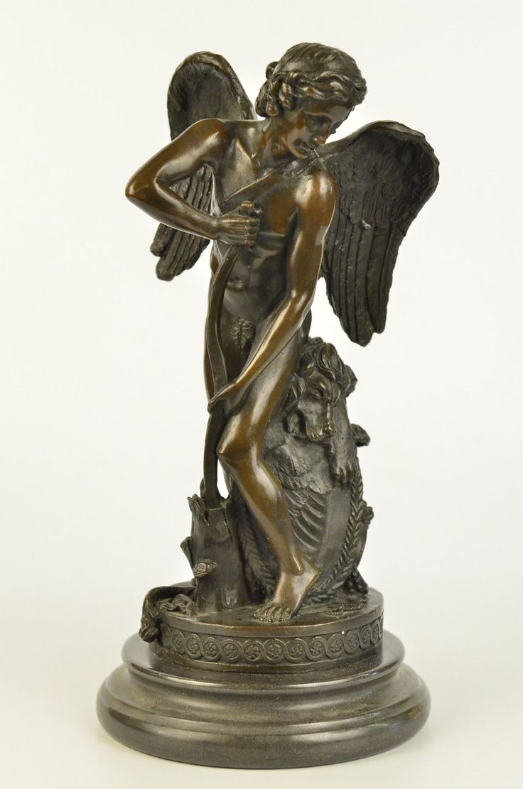 Real Bronze Moreau Statue Sculpture Angel Cherub Bow & Arrow Figure Art Noveau | eBay