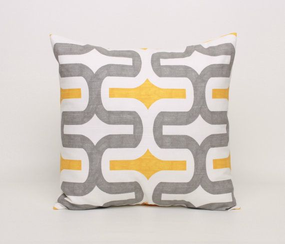 Yellow and Gray Throw Pillow Cover Yellow by DimensionsHomeDecor