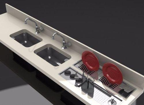 escorredor de louça inox embutido (calha úmida) 60cm